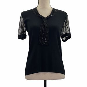 Cable & Gauge Sheer Black Sequined Ribbed Top M